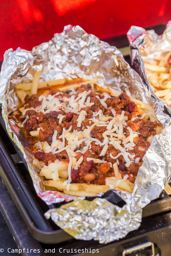chili cheese fries in foil packet on the grill