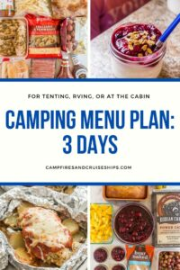 camping menu plan 1 collage with four images and title