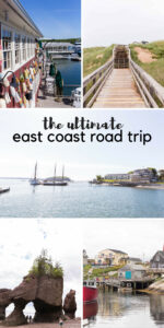 collage of images from east coast and title reading east coast road trip