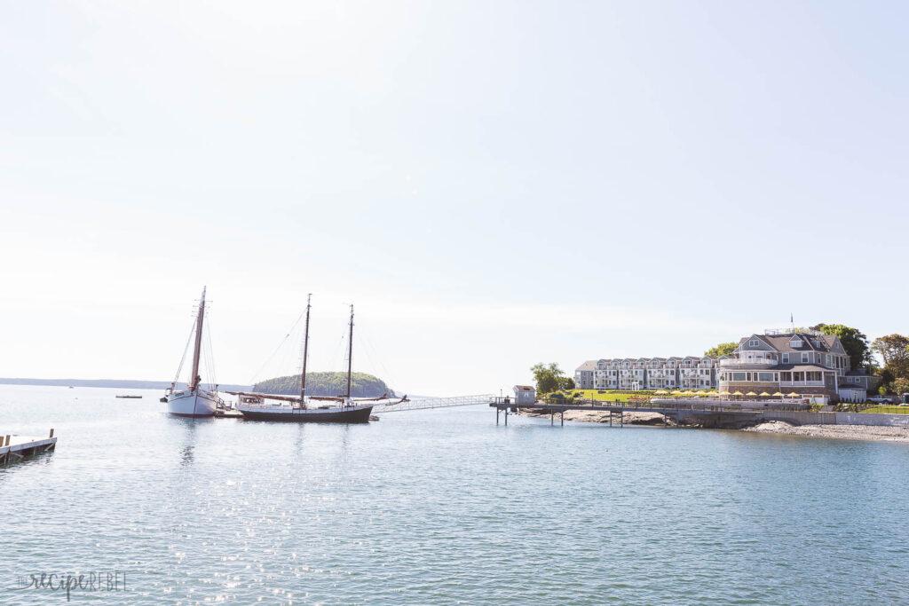 sail boats in the bay at bar harbor maine