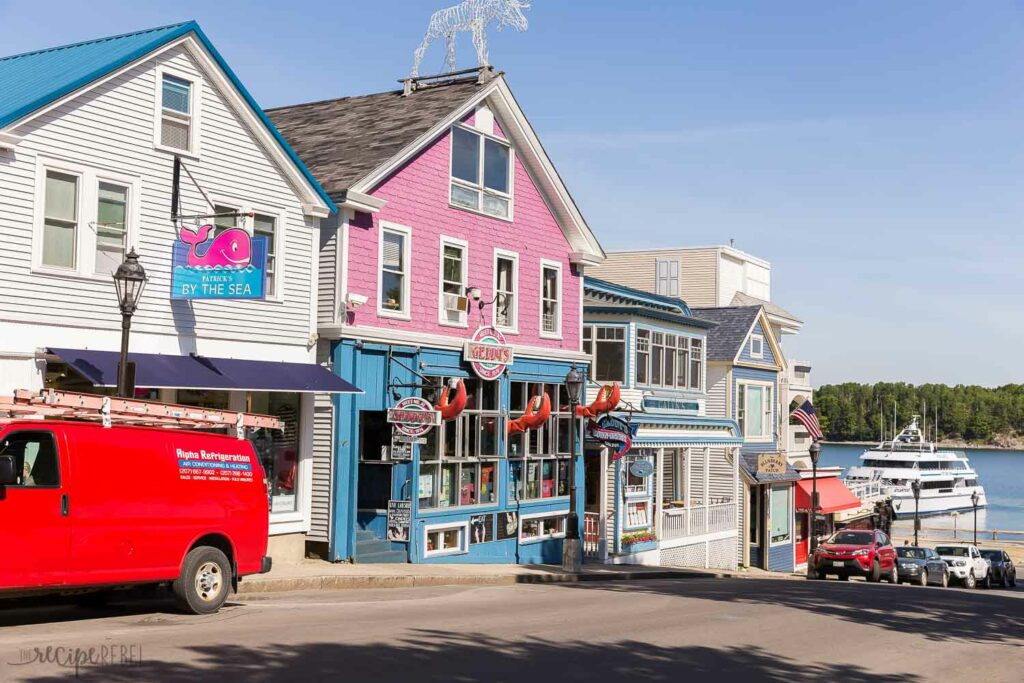pink and blue restaurant in bar harbor maine main street