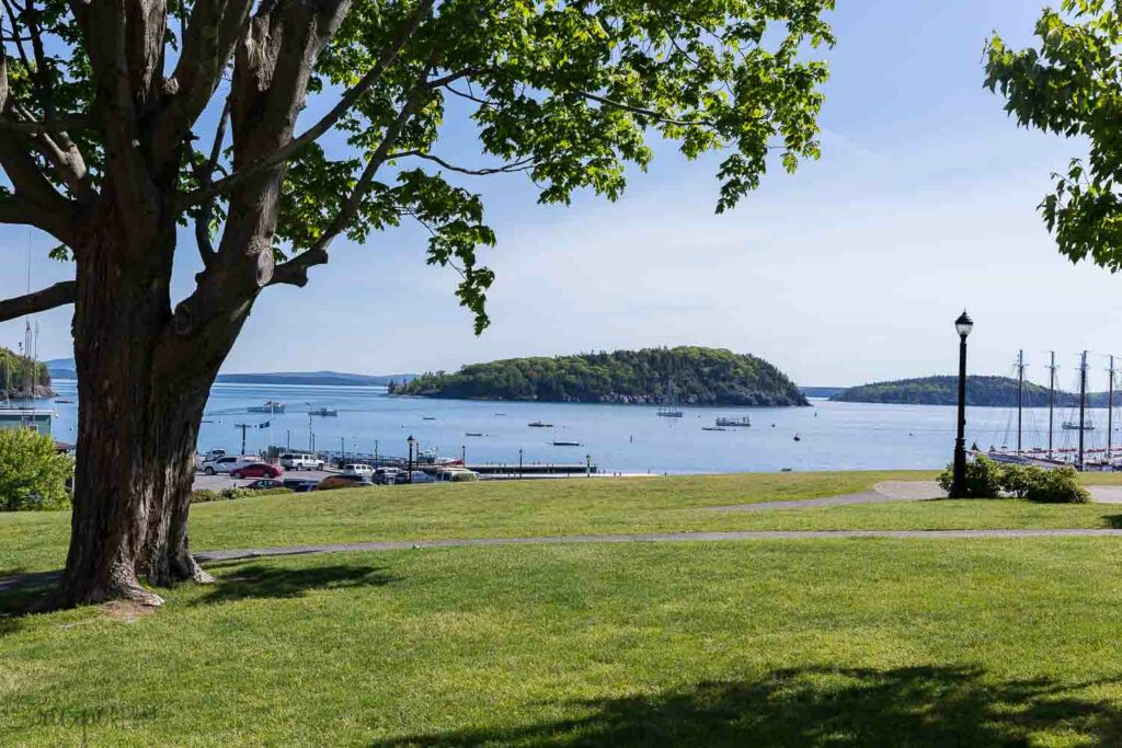 bar harbor maine park with view to the bay