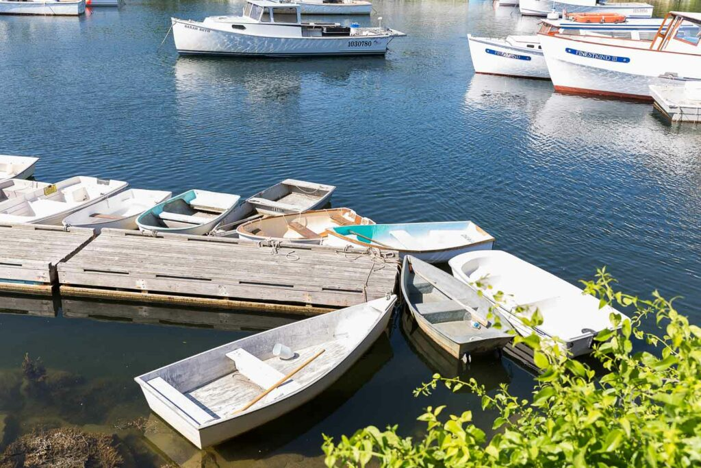 row boats at the dock in ogunquit maine