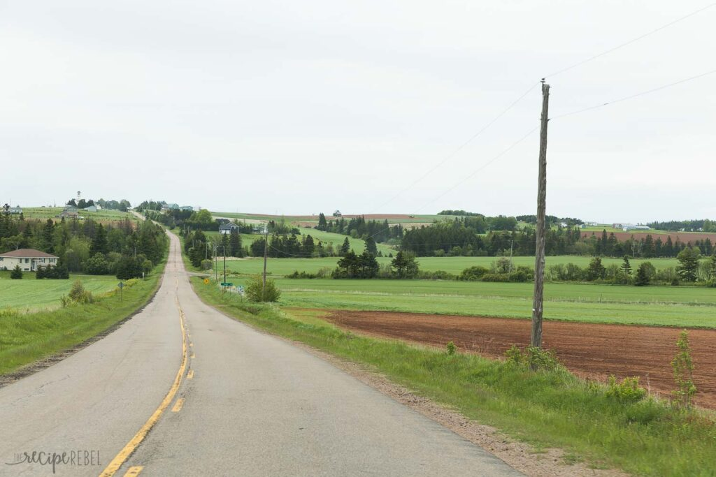 two lane highway in Prince Edward Island with rolling hills