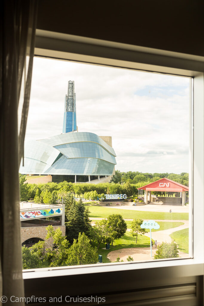view of human right museum from the window of inn at the forks