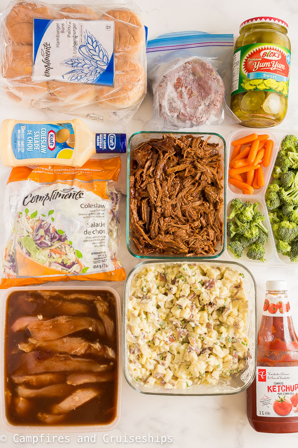 camping meal prep dinners laid out on white background