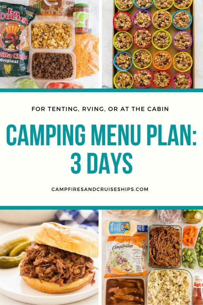 four image collage with title for camping menu plan two
