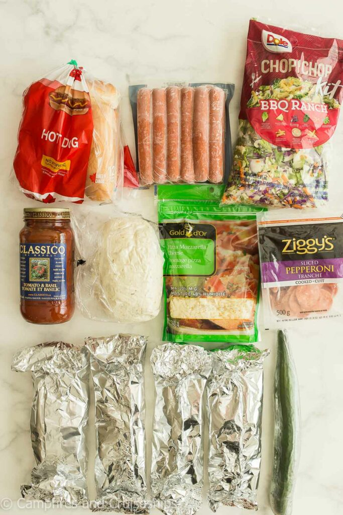 quick prep camping dinners overhead image of ingredients