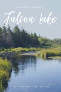 falcon lake image of pond with trees in the background and title