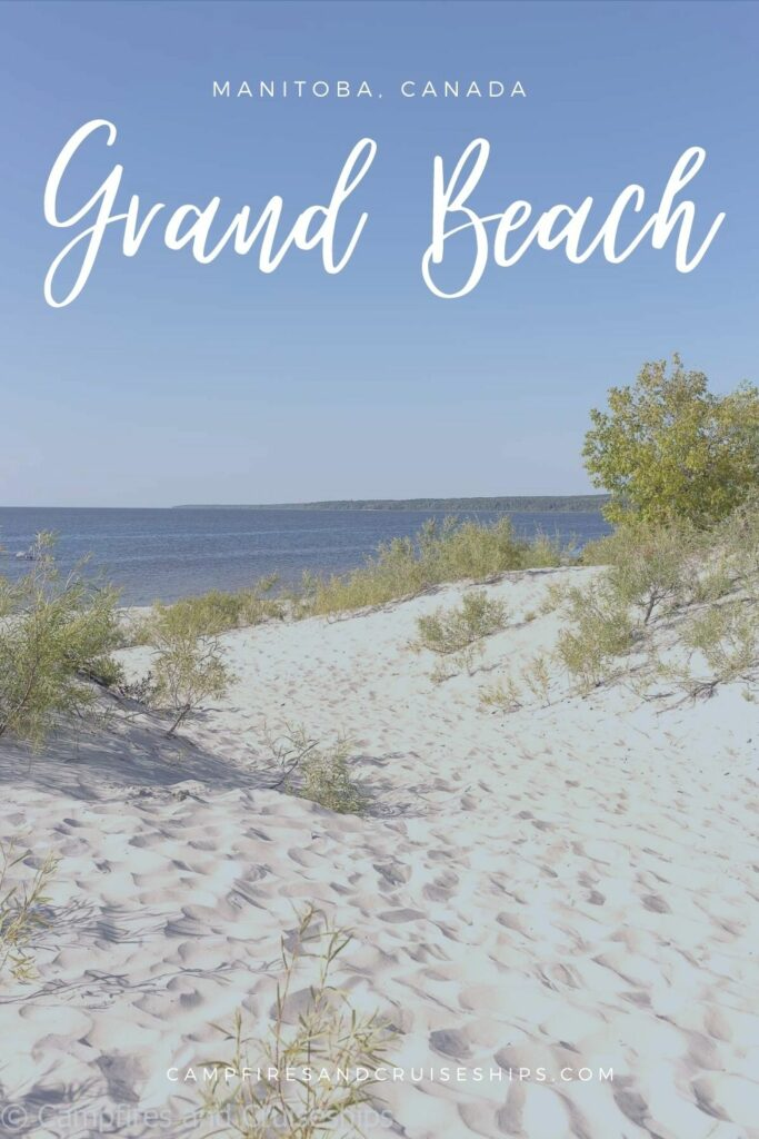 grand beach manitoba photo of beach with title in white text