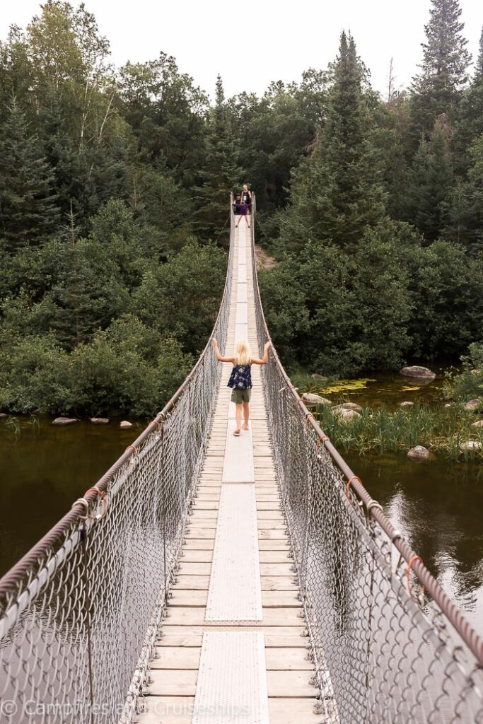 pinawa suspension bridge in manitoba canada