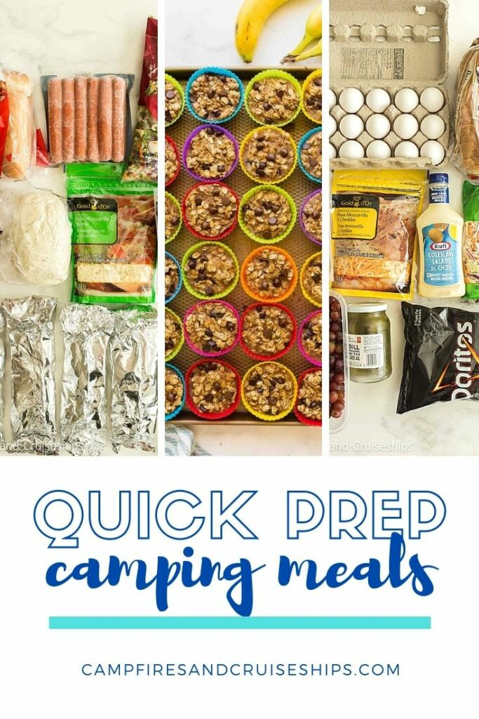 quick prep camping meal plan 3 images and title on white bacckground