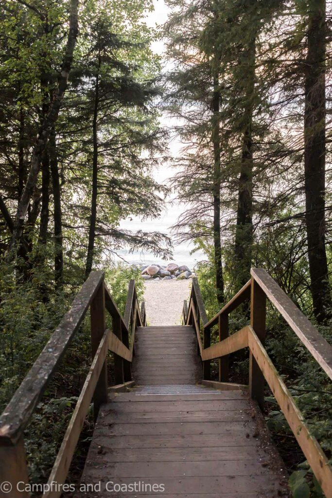 wooden stairs going down to the lake through the trees